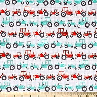 Studio E Fabrics Wildflower Farm Tractors Fabric, White, Fabric By The Yard
