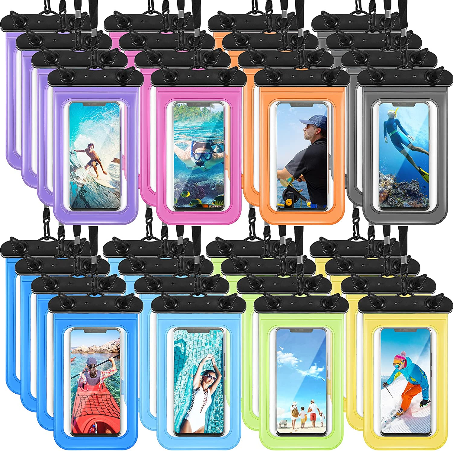 32 Pieces Waterproof Phone Pouch Clear Cellphone Dry Bag with Lanyard Mobile Phone Case for Smartphone up to 6.9 Inch, Multi Color
