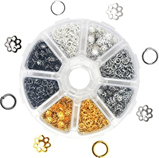 Mandala Crafts End Bead Cap, End Cap Bead Cover Assorted Set from Metal for Jewelry Making; Gunmetal, Platinum, Silver, Gold Color (Flower, 5mm)