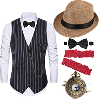 1920s Costume Accessories for Men - Gatsby Fedora Hat,Gangster Vest,Vintage Pocket Watch,Armbands,Pre Tied Bow Tie