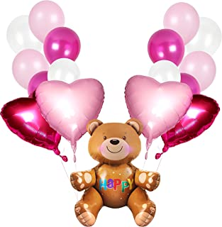 Happy Valentine's Day Balloons Bouquet Decorations in Metallic Magenta Pink Latex Balloon Teddy Bear and Heart Shaped Mylar for Arch Column Stand School Wedding Baby Shower Birthday Party Supplies