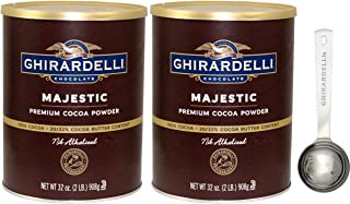 Ghirardelli Majestic Premium Cocoa Powder, 32 Ounce Can (Pack of 2) with Limited Edition Measuring Spoon