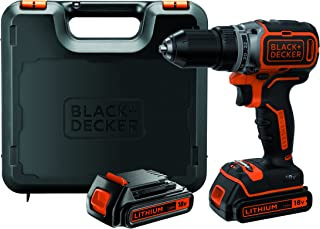 Black+Decker batteriborr, borrmaskin (18 V 1,5 Ah, borstlös 2-växellåda, LED-arbetslampa) 1 st, BL186KB