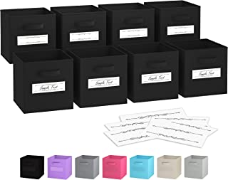 Royexe - Storage Cubes - (Set Of 8) Storage Baskets | Features Dual Handles & 10 Label Window Cards | Cube Storage Bins | Foldable Fabric Closet Shelf Organizer | Drawer Organizers And Storage (Black)