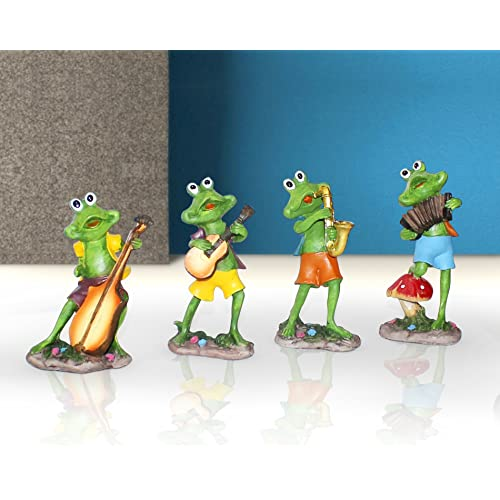 Tied Ribbons Set Of 4 Frogs Playing Musical Instruments | Garden Decoration Items | Garden Decors | Outdoor Decoration Items | Christmas Home Decor