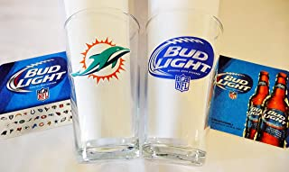 Bud Light/Miami Dolphin NFL Beer Glass & Coaster Set - 2 Pack
