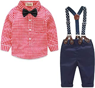 مجموعة ملابس الأطفال الرضع للأولاد تي شيرت + ربطة عنق + سراويل حمّالة مجموعة من 4 قطع طفل رضيع بدلة رجلان