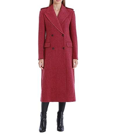 Avec Les Filles Twill Wool Military Coat (Pink Burgundy) Women