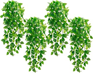 Whonline 4pcs Artificial Hanging Plants Fake Ivy Vine for Wall Home Porch Garden Wedding Garland OutsideHanging Decoratio...