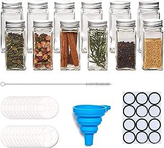 PANENDIANO Lot de 12 pots à épices carrés en verre avec couvercle - 120 ml - Pour la cuisine - Hermétique et durable - Pou...