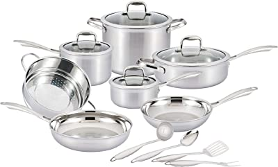 Nevlers Multi-Clad Stainless Steel Cookware Sets - 15 Piece Pots and Pans Set - Makes for a Great Cooking Set for Your Kitchen - It is Dishwasher Safe Too!