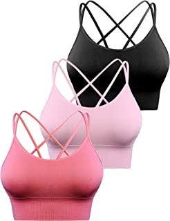 Aibrou 1-3 Pack Strappy Sports Bras for Women Longline Padded Medium Support Yoga Workout Bras