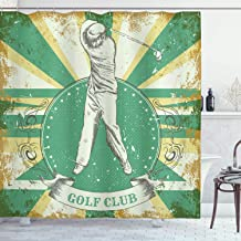 Ambesonne Vintage Shower Curtain by, Retro Poster Print Man Playing Golf Golf Club Quote on Grunge Background, Fabric Bathroom Decor Set with Hooks, 70 Inches, Green Yellow Beige