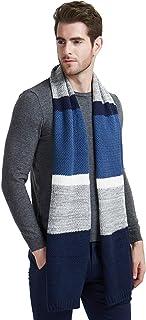 Winter Cashmere Scarf for Men, Color Block Contrast Stripe Wool Knit Fashion Long Scarves