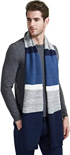 Winter Cashmere Scarf for Men, Color Block Contrast Stripe Wool Knit Fashion Long Scarves