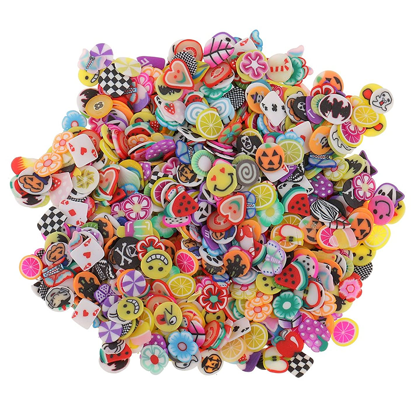 週間中に参照1000ピース ネイルアート フルーツ スライス ポリマー クレイ ステッカー ネイル おしゃれ 装飾 - 混合スタイル