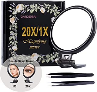 20X Double-Sided Magnifying Mirror &Slant Tip and Pointed Eyebrow Tweezer Set,Perfect for Precise Makeup Application for Facial Hair, Ingrown Hair,Splinter, Blackhead and Tick Remover. (Black)