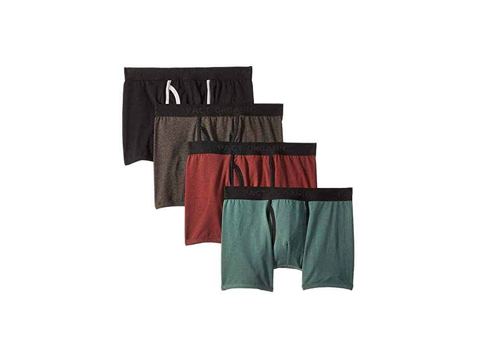 PACT Everyday Organic Cotton Boxer Brief 4-Pack (Charcoal Heather/Pine/Black/Redwood) Men