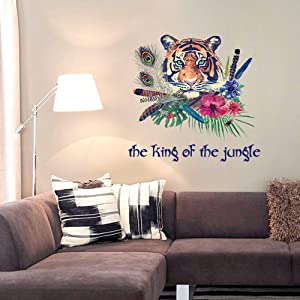 ROFARSO Lifelike Cool Tiger Tropical Rainforest Animal 3D Vinyl Wall Stickers Removable Wall Decals Art Decorations Decor for Bedroom Living Room Murals