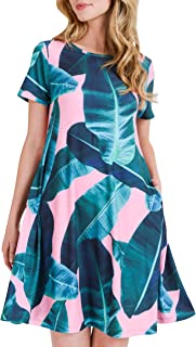Women's Tropical Print Floral Dresses with Pockets Short Sleeves A-Line Summer Casual Beach Sundress