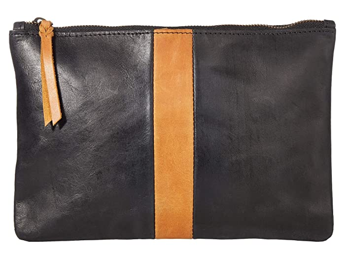 ABLE  Martha Zip Pouch (Black/Cognac) Bags