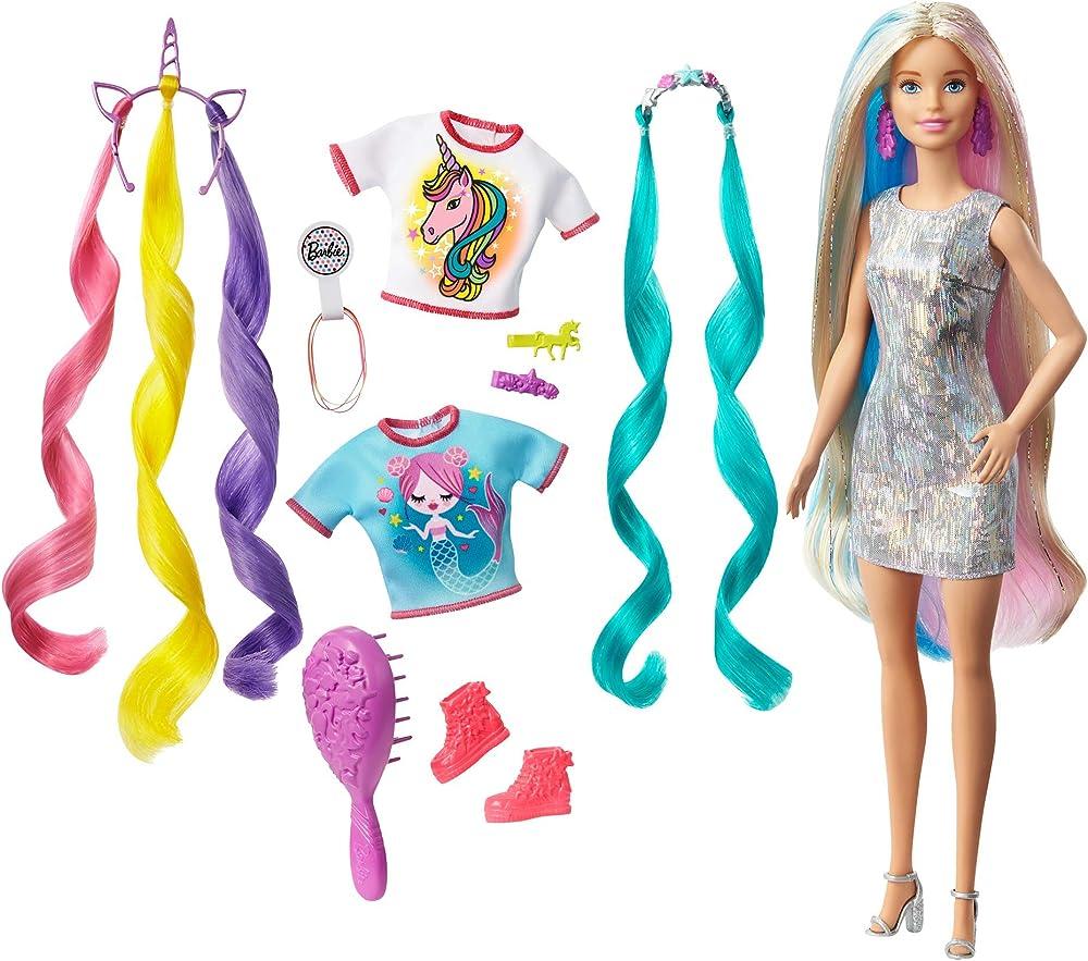 Barbie, bambola capelli fantasia a tema unicorni e sirene con accessori GHN04