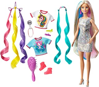 Barbie Fantasy Hair Doll, Blonde, with 2 Decorated Crowns, 2 Tops & Accessories for Mermaid and...