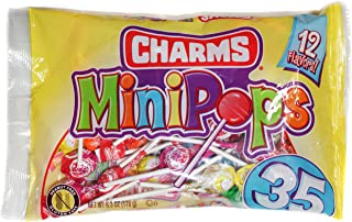 Charms (1) Bag Mini Pops Lollipop Candy - Assorted Fun Flavors - Peanut & Gluten Free 35pc per Bag 6.3 oz