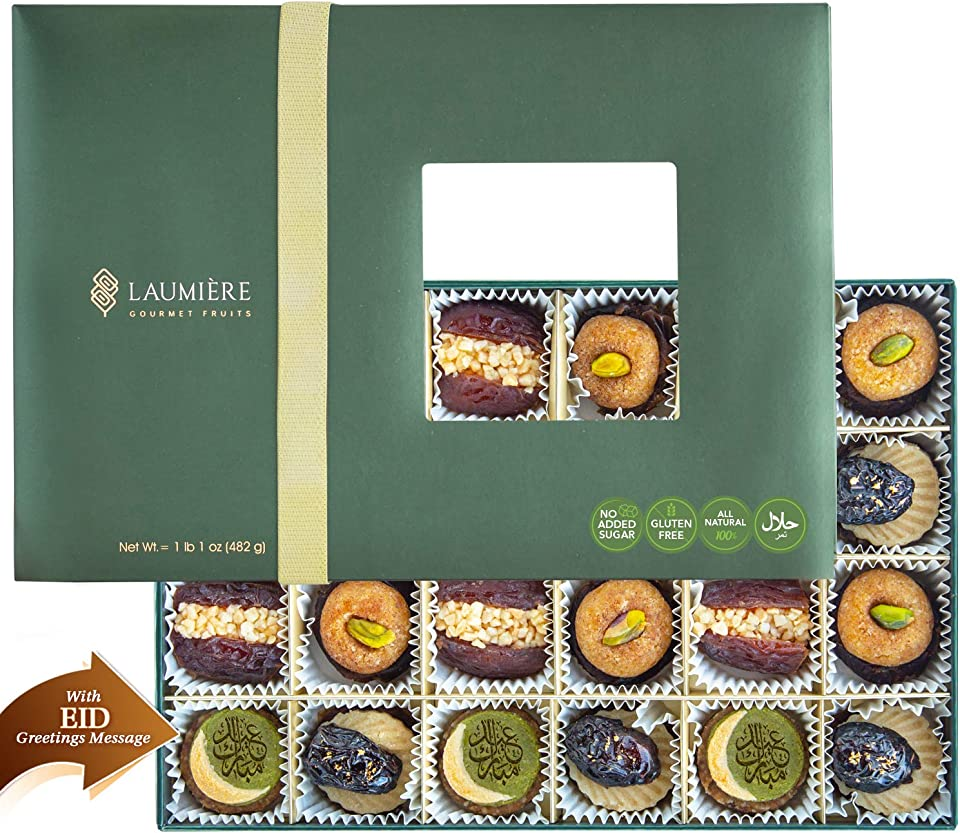 Laumiere Gourmet Fruits - Crescent Collection - Dried Fruits and Nuts Basket - Box - Hamper - Eid - Festive Celebrations - No Added Sugar - Healthy - Natural (Eid Rectangle)