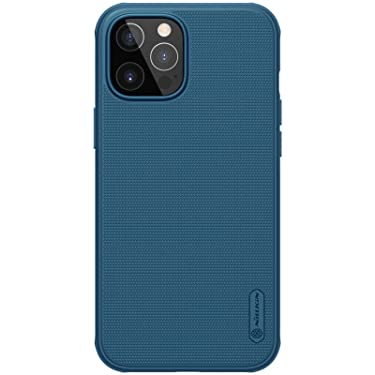 """Nillkin Case for Apple iPhone 12 / iPhone 12 Pro (6.1"""" Inch) Super Frosted Shield Pro Hard Back Soft Border (PC + TPU) Shock Absorb Cover Raised Bezel Camera Protect PC Without Logo Cut Blue"""
