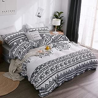 LAMEJOR Duvet Cover Sets Queen Size Bohemia Exotic Elephant Patterns Bedding Set Comforter Cover White and Black(1 Duvet Cover+2 Pillowcases)
