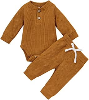 Newborn Baby Girls Boys Romper Sets 2Pcs Outfit Long Sleeve Plain Tops Autumn Clothes Bodysuit and Pants Toddler Outfits S...