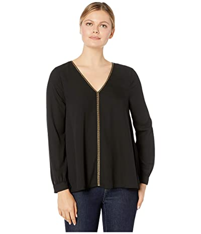 Karen Kane Studded Long Sleeve Top (Black) Women