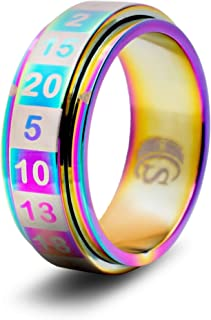 CritSuccess d20 Dice Ring with 20 Sided Die Spinner (Size 8 - Stainless Steel - Rainbow)