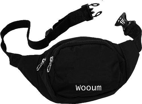Waist Bag Casual Functional Money Phone Pouch Belt Bag Chest Bag Leisure Waist Bag Outdoor Shoulder Bag with Adjustable Belt Black