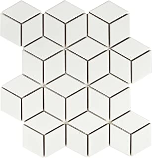 SomerTile FMTRHOMW Retro Rhombus Porcelain Mosaic Floor and Wall Tile, 10.5