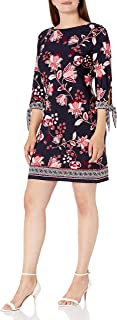Sandra Darren womens 1 PC 3/4 Sleeve Floral Printed ITY Puff Shift Dress Casual Dress
