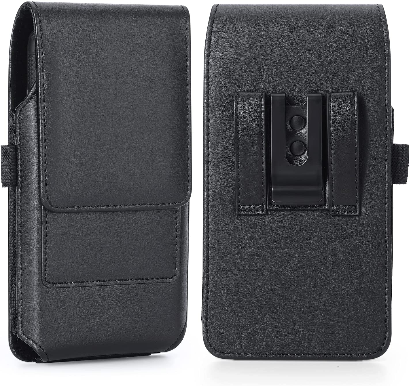 BECPLT for iPhone 12 Pro Max Holster Case, iPhone 11 Pro Max Xs Max 8 Plus 7 Plus Belt Clip Case, Premium Leather Holster Pouch Case Belt Clip with Card Holder for iPhone 6 Plus 6S Plus (Black)