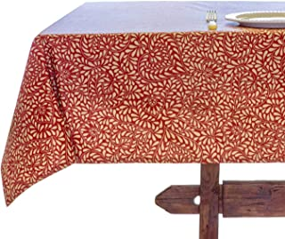 Amelie Michel Wipe-Clean French Tablecloth in Courmayeur Red   Authentic French Acrylic-Coated 100% Cotton Fabric   Easy Care, Spill Proof [60