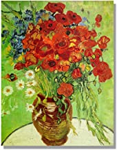 Eliteart- Red Poppies and Daisies Asters by Vincent Van Gogh Oil Painting Reproduction Giclee Wall Art Canvas Prints