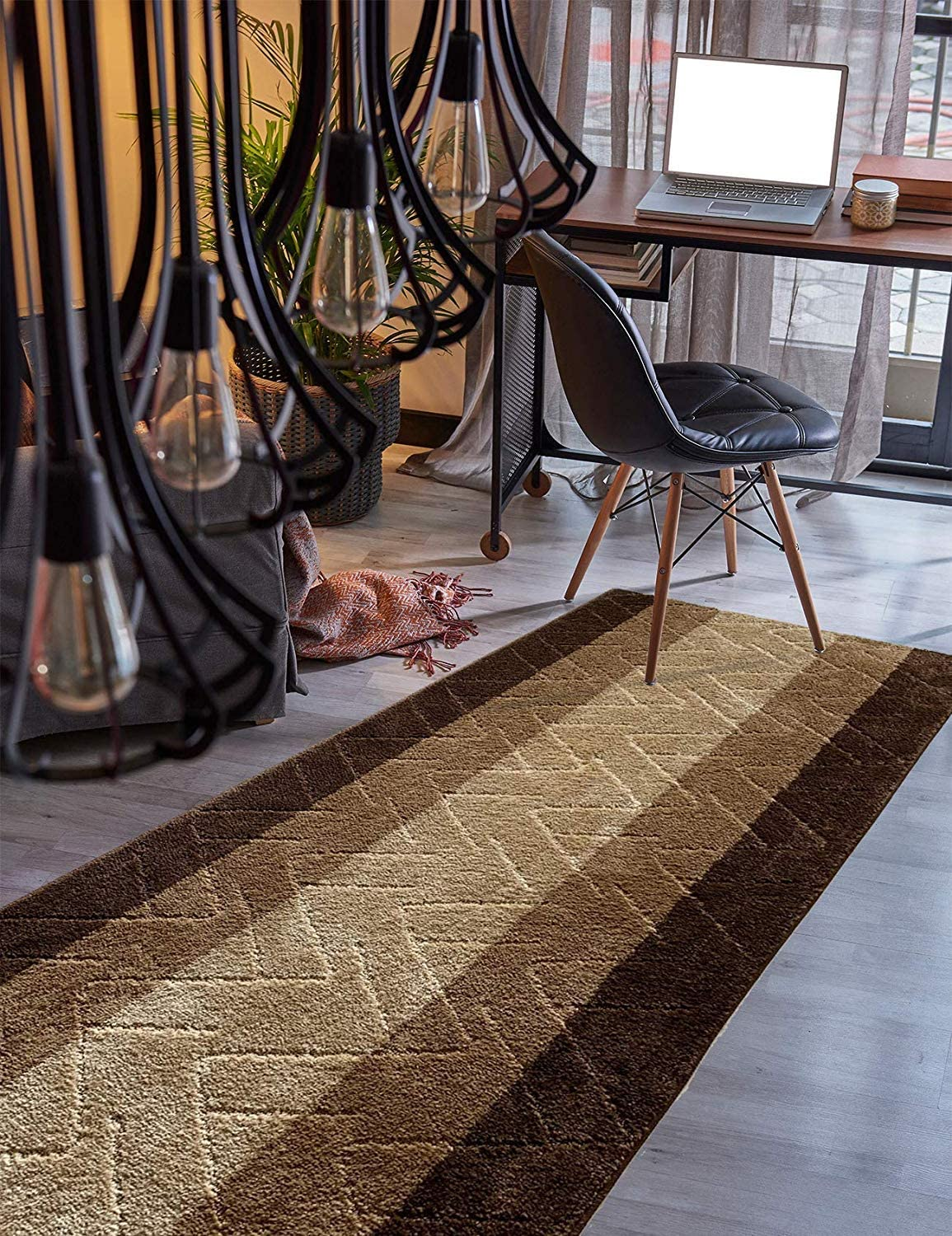 Custom Directly managed store Size Hallway Runner Price reduction Rug Brown-Beige Color 31 inch Se Wide