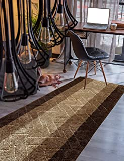Custom Size Hallway Runner Rug Brown-Beige Color 31 inch Wide Select Your Length Non-Slip (Skid Resistance) Rubber Backing 11 feet x 31 inch