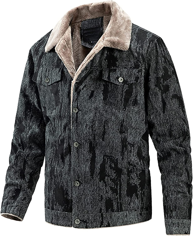 Men's Winter Casual Thicken Outwear Coat Lined Fur Jacket Cargo Working Single Breasted Winter Warm Coats