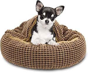 FURTIME Small Dog Bed Cat Bed with Blanket Attached, 23/26 inch Cozy Cuddler Orthopedic Calming Cave Hooded Pet Bed, Round Donut Anti-Anxiety Dog Bed for Small Dogs or Cats Washable, Anti-Slip Bottom