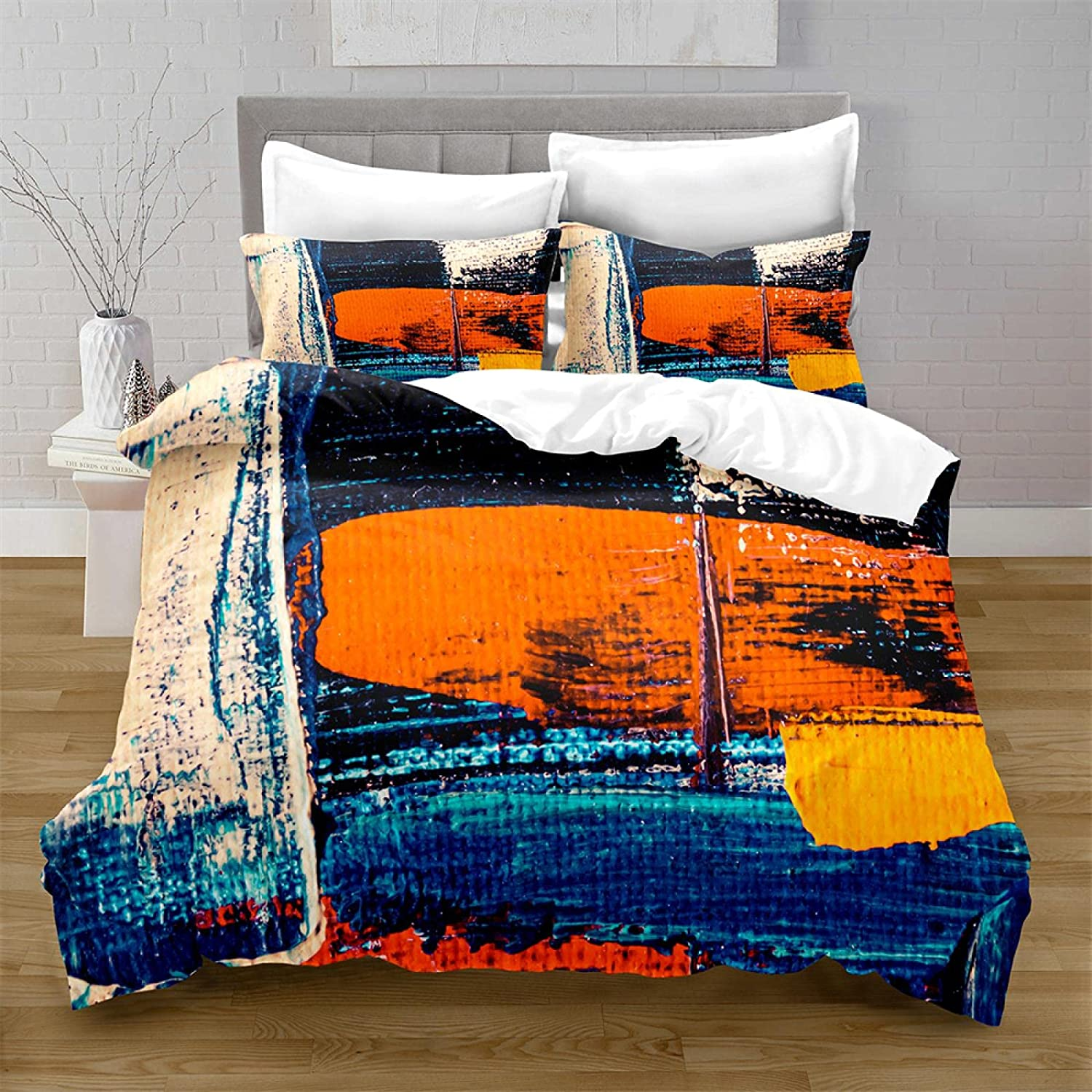 HQHM Duvet Cover King 3 Pieces Ranking TOP8 Multicolor Sale price 61 Retro Stitching Art