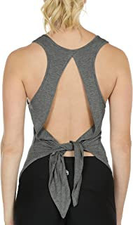 icyzone Open Back Workout Tops for Women - Athletic Activewear Shirts Exercise Yoga Tank Tops