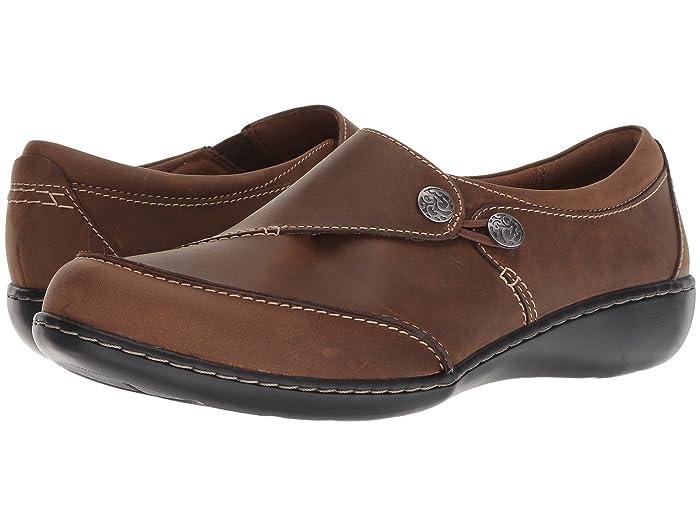 Clarks  Ashland Lane Q (Dark Tan Leather) Womens  Shoes