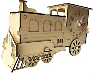 3D Puzzle of a Desk Clock Train – DIY Model Kit for Adults and Kids - Locomotive Jigsaw Puzzle - Light Wood Color