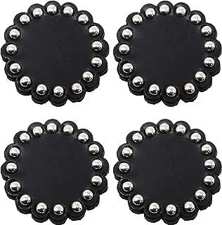 Set of 4 Horse Western Tack Hardware Leather Concho Studded Rosettes Black 40204