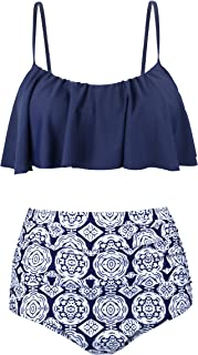 0b8a3844fd7 Newbely Women's Vintage Ruched High Waisted Bathing Suit Plus Szie Bikini